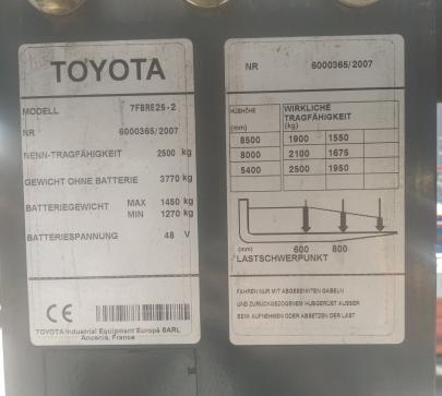 Рийч трак Toyota 7FBRE25-2 image 1