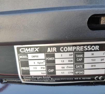 Компресор за въздух CIMEX 50л, 184 l./min, 1.5kW image 3